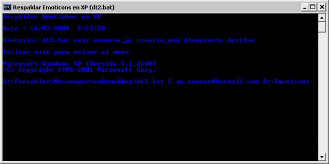 Utilizando dt2.bat para XP